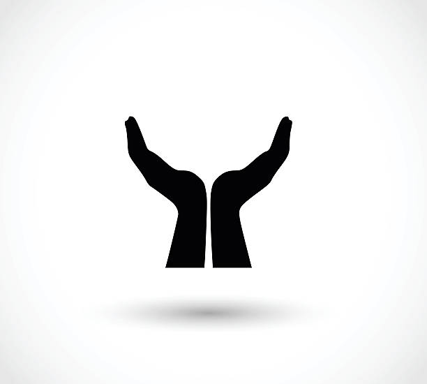 Two opened hands in a pray gesture vector illustration